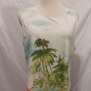 J. Jill love linen sleeveless tropical print top m